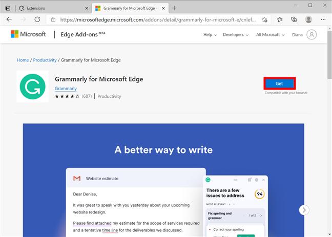按get将扩展名包含在浏览器中