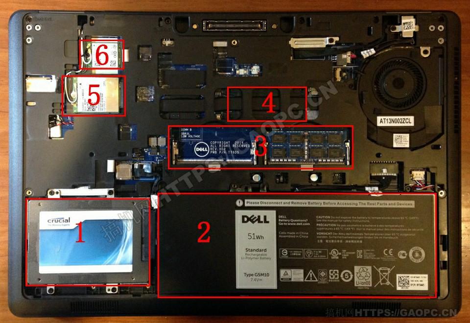 戴尔latitude E5550机身内部硬件排布