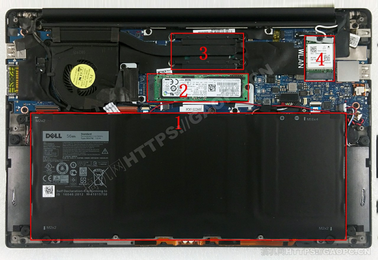 戴尔xps 13(9350)机身内部硬件排布