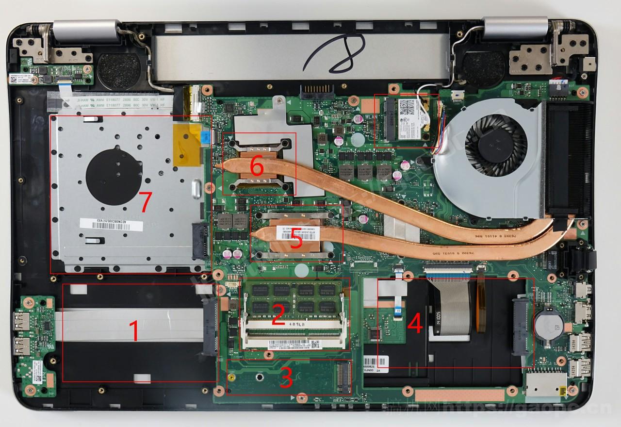华硕N751机身内部硬件排布