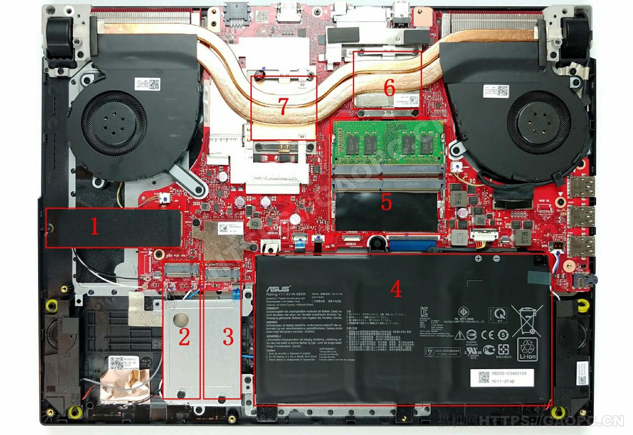 华硕 Rog Strix G15 G512li机身内部硬件排布