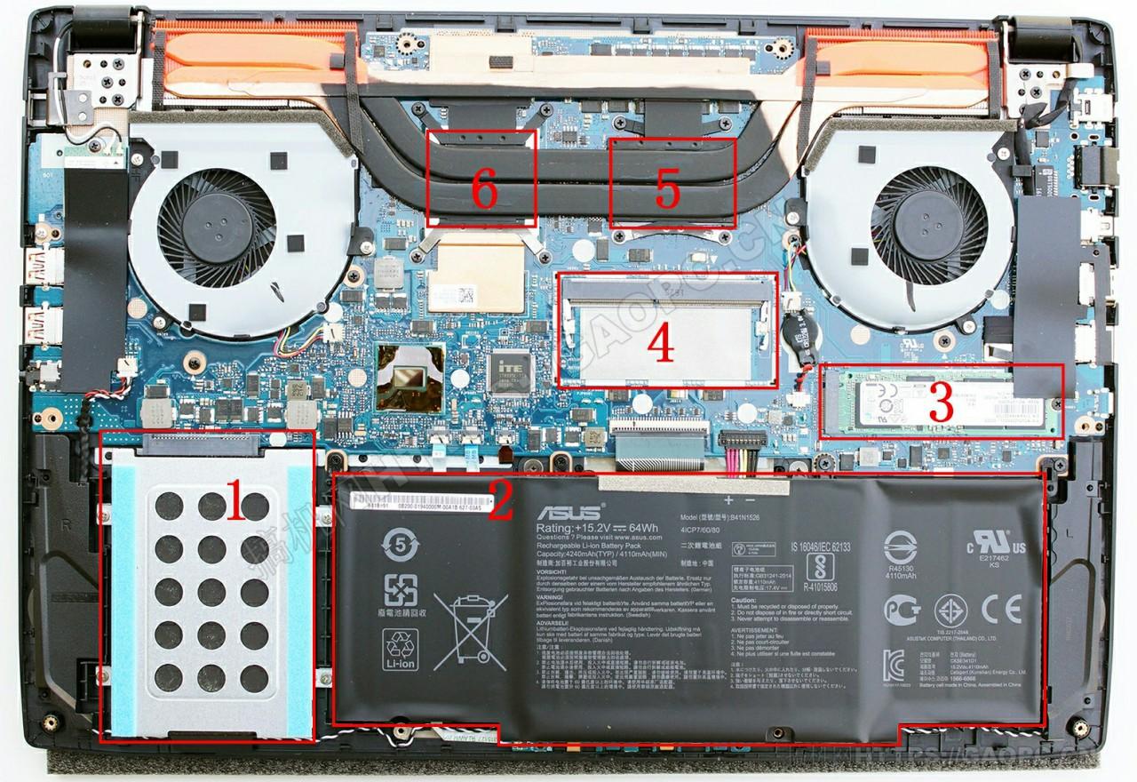 华硕rog Strix Gl502机身内部硬件排布