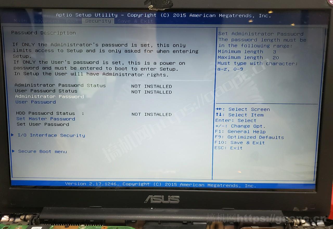华硕W519L Bios Security