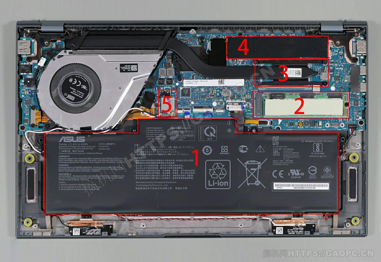 华硕zenbook 14 Ultralight Ux435机身内部硬件排布