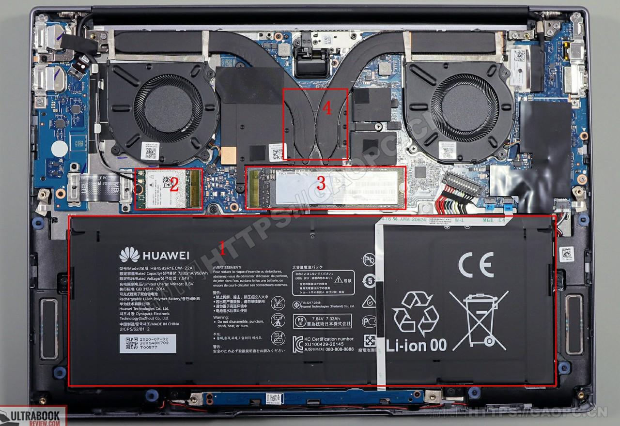 华为 Matebook 14 2020机身内部硬件排布