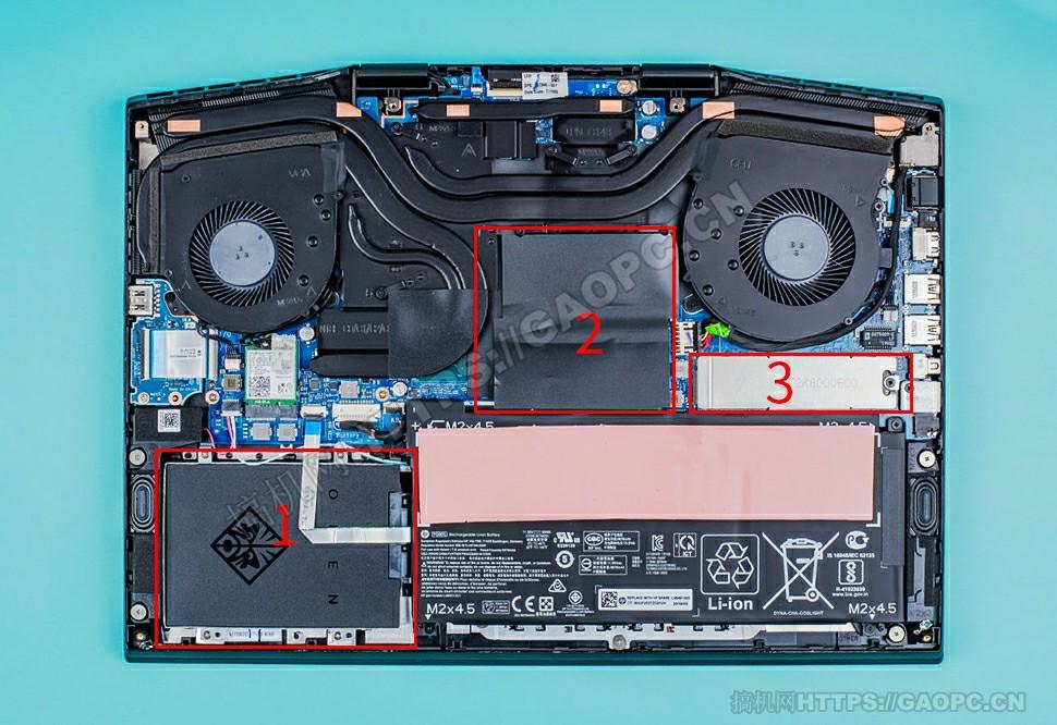 惠普暗影精灵5 Plus拆机 机身内部硬件排布