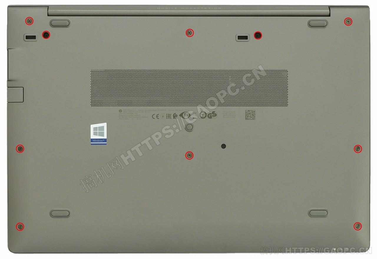 惠普 Zbook 15u G6背面待拆螺丝