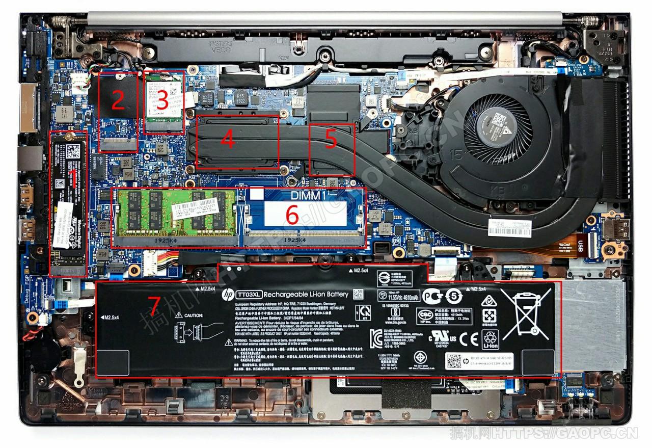 惠普 Zbook 15u G6机身内部硬件排布
