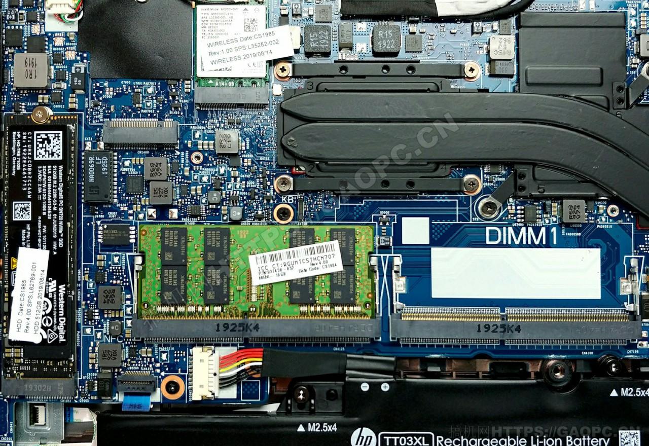 惠普 Zbook 15u G6内存插槽和固态硬盘插槽