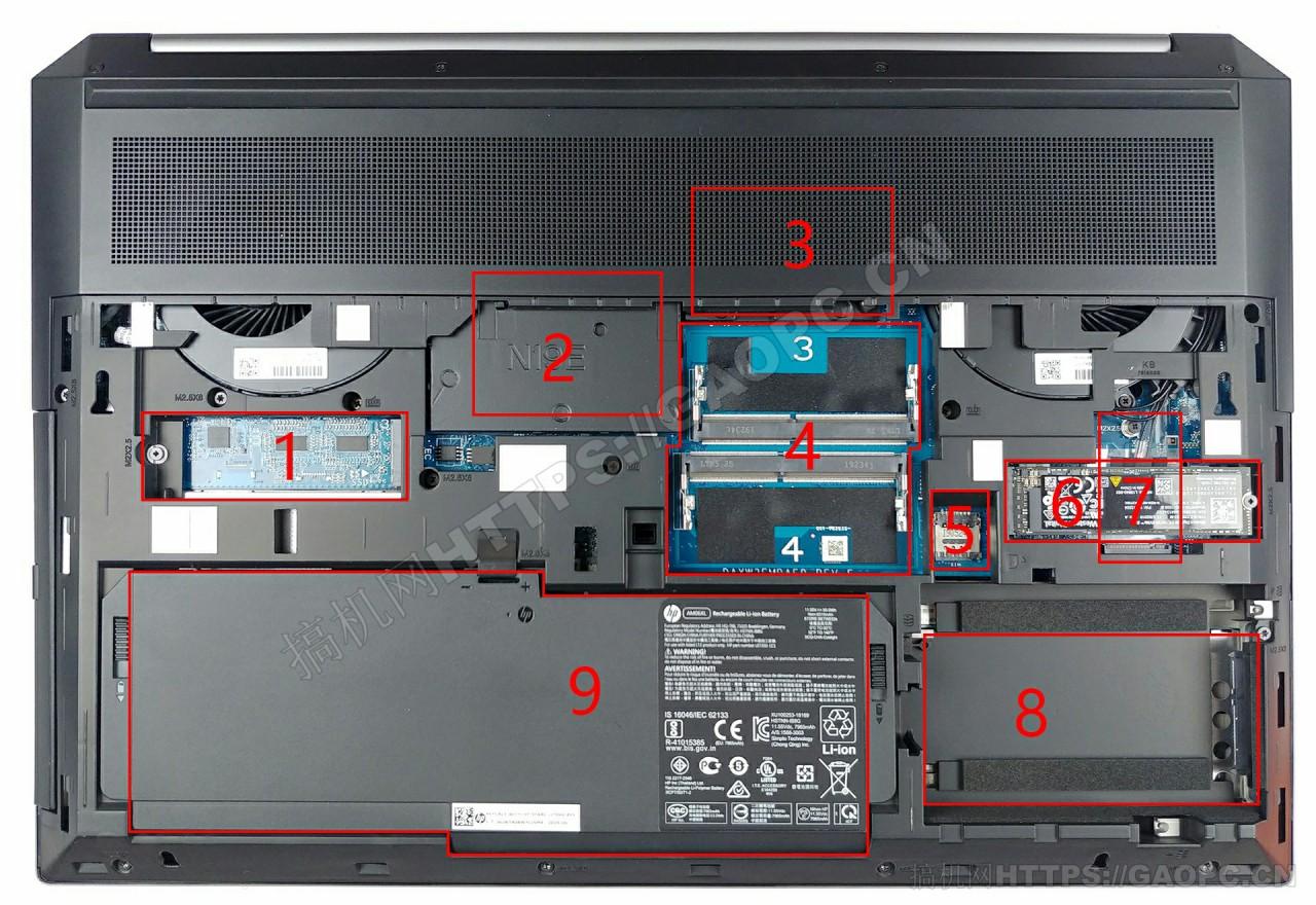 惠普zbook 17 G6 背面硬件排布