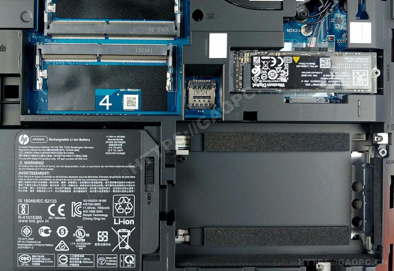 惠普zbook 17 G6内存插槽