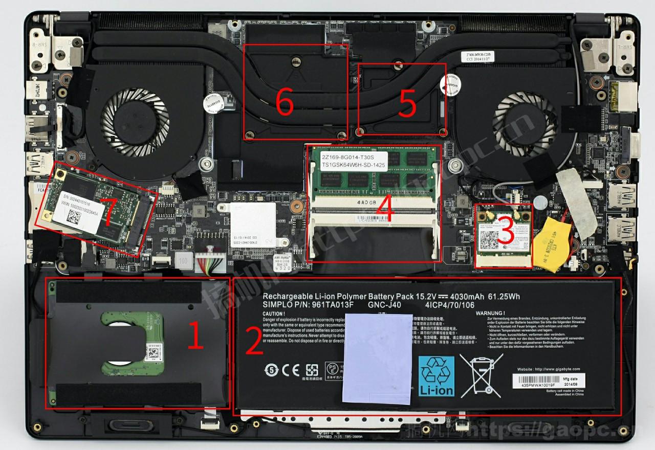 技嘉P34W机身内部硬件排布
