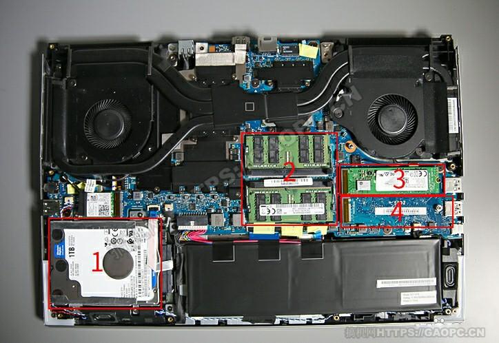 机械师f117 X拆机 内部硬件排布