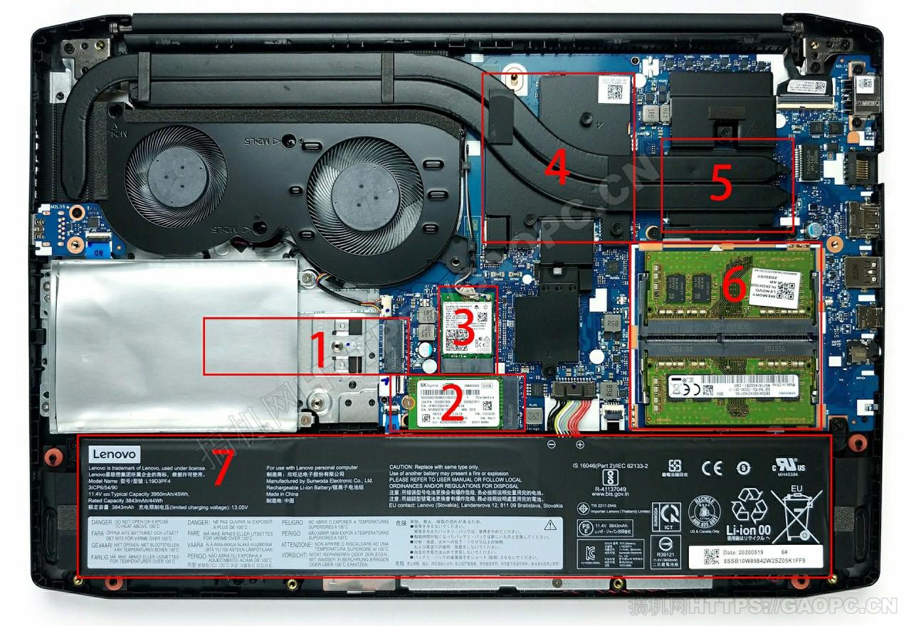联想ideapad Creator 5 (15)机身内部硬件排布