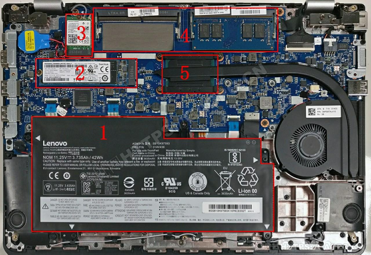 联想thinkpad 13 Gen 2机身内部硬件排布