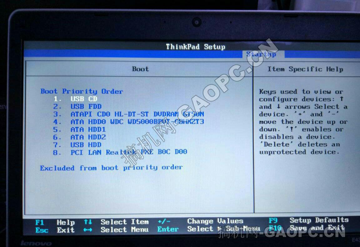 联想 ThinkPad E430 BIOS-startup-boot