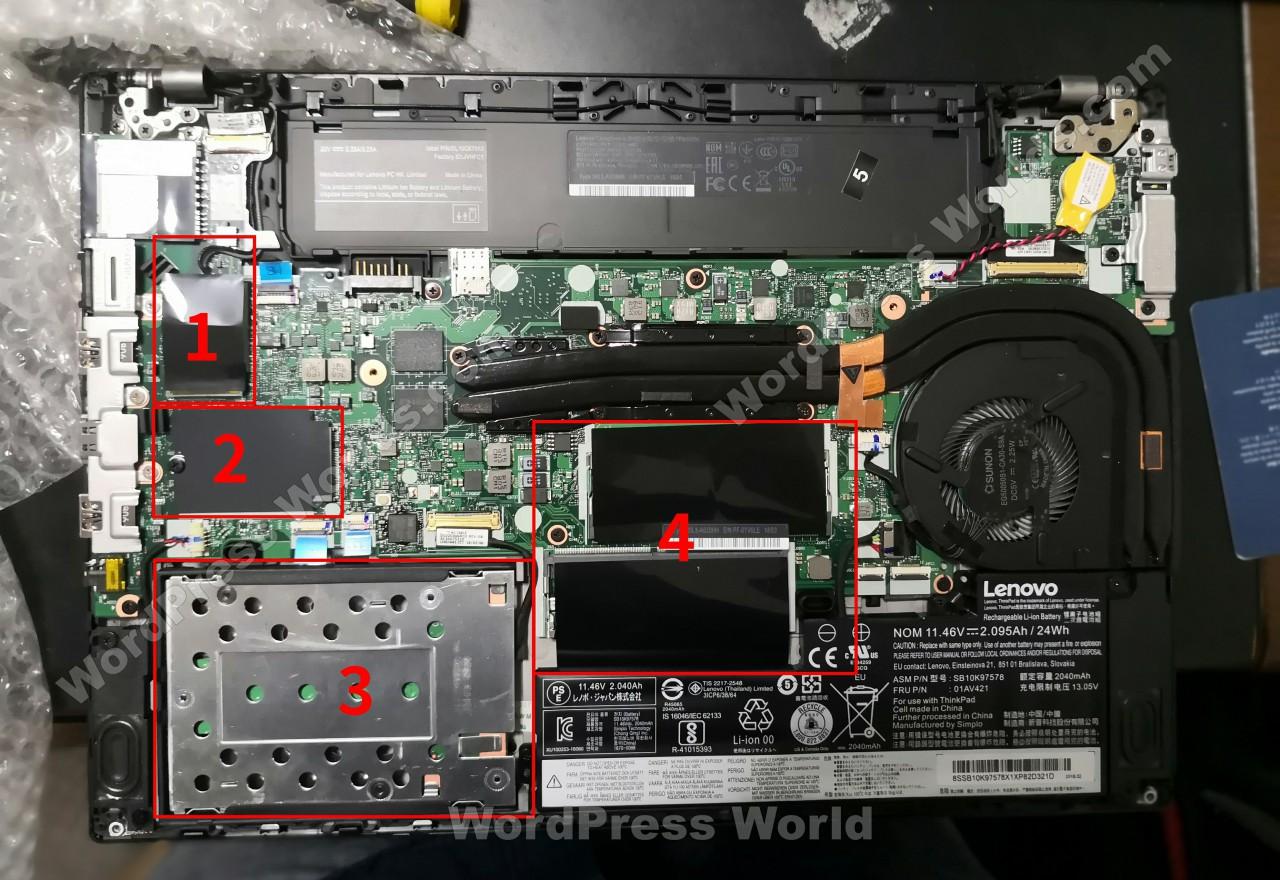 联想 ThinkPad T480拆机-内部硬件排布
