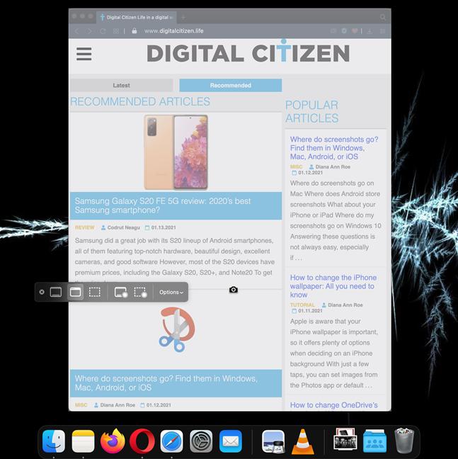 您在应用程序窗口中看到的所有内容都将保存为Mac上的屏幕截图