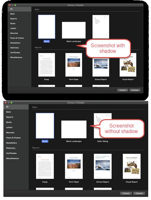 了解如何在有或没有窗口阴影的Mac上拍摄屏幕截图