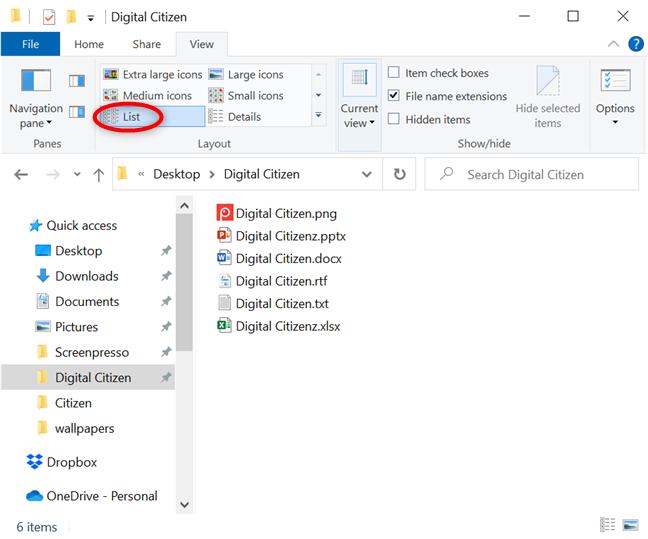 列出文件夹中的所有内容,以彻底浏览项目名称