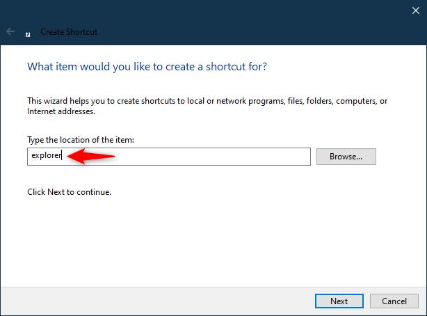 创建(Windows)文件资源管理器快捷方式