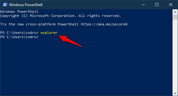 使用命令提示符或PowerShell打开(Windows)文件资源管理器