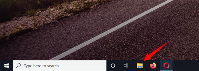 """使用任务栏上的""""文件资源管理器""""快捷方式"""