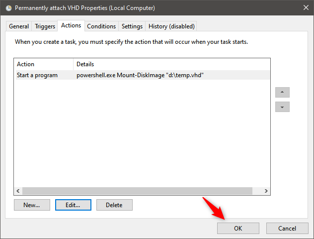 如何永久附加VHD:在Task Scheduler中保存任务