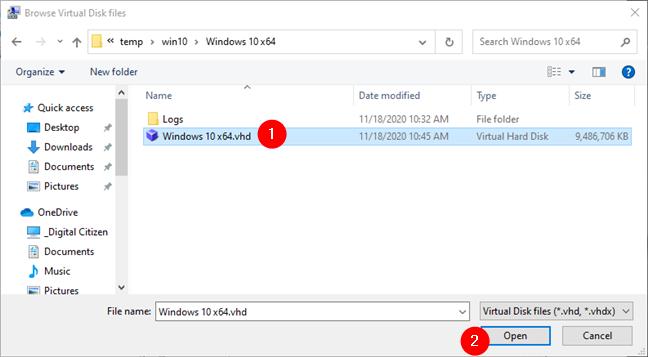 浏览虚拟磁盘文件并选择要挂载的文件