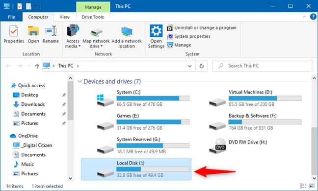 VHD文件中的分区,显示在文件资源管理器中