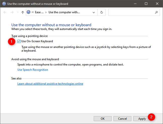 Use On-Screen Keyboard