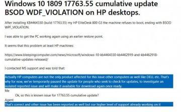 微软认可惠普Win10 PC打KB4462919补丁蓝屏征象