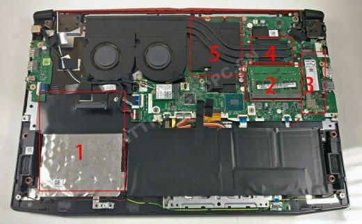 宏碁 Predator Helios 300 PH317-51(2018)拆机升级M.2 SATA固态硬盘和DDR4内存条