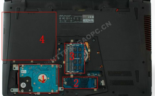 华硕ROG GL552JX拆机:配备了一个M.2 SATA 2280固态硬盘接口以及双通道内存