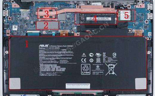 华硕ZenBook UX305拆机:机身内部仅能升级M.2 SATA固态硬盘