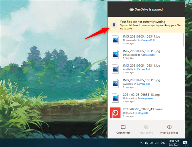 在OneDrive中恢复同步