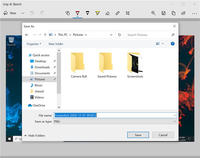 选择使用Snip&Sketch保存屏幕截图的位置