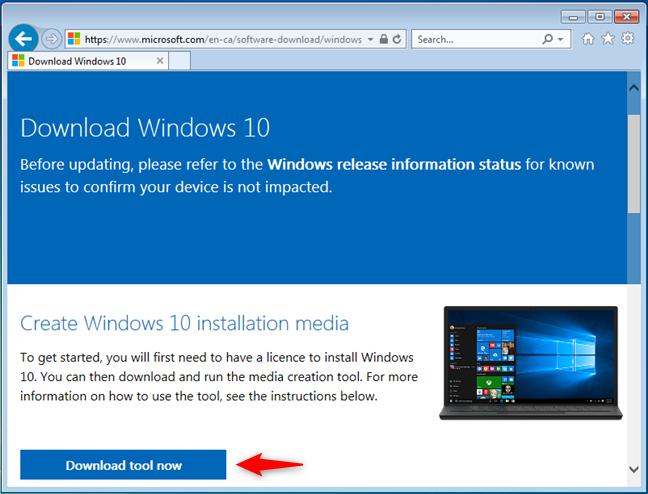 从Microsoft下载媒体创建工具