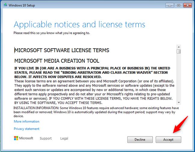 Windows 10许可条款
