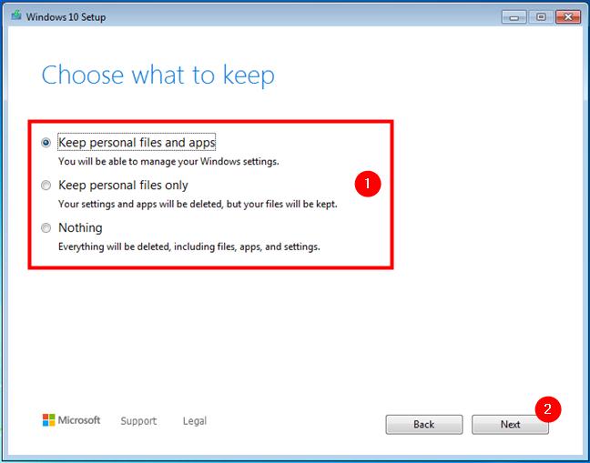从Windows 7或8.1升级到Windows 10时选择保留的内容