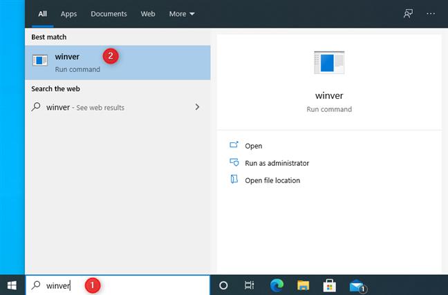在Windows 10中搜索winver