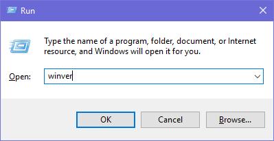 运行winver以检查Windows 10版本