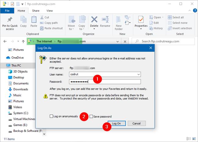 在Windows 10中输入FTP帐户的用户名和密码