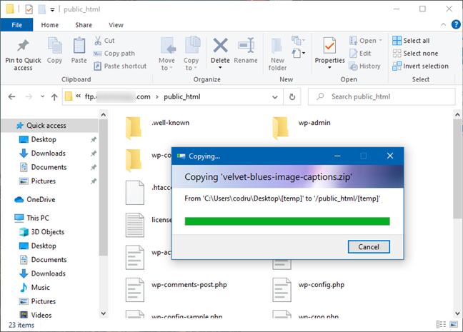 FTP服务器上的文件和文件夹管理照常进行