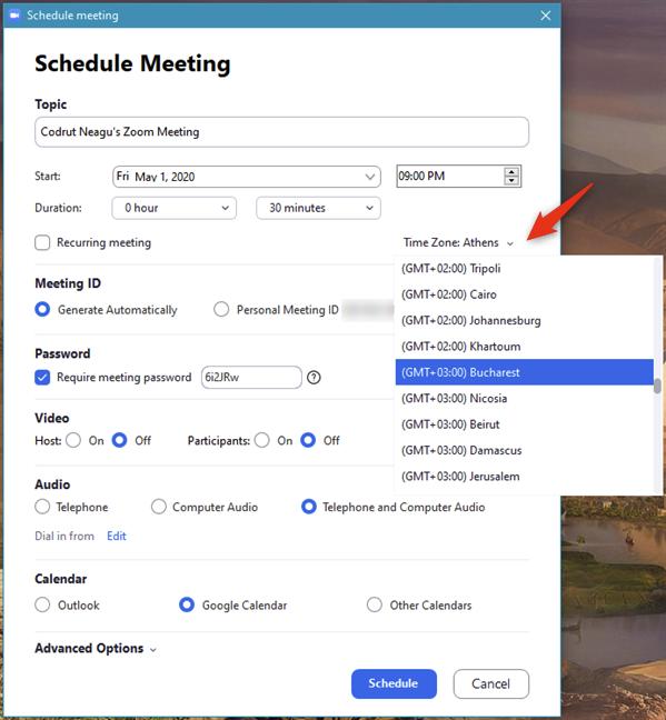 安排Zoom会议的3种方式