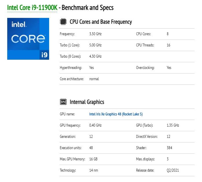 英特尔 i9-11900K 完整规格曝光:8C16T 睿频 5GHz,核显大升级