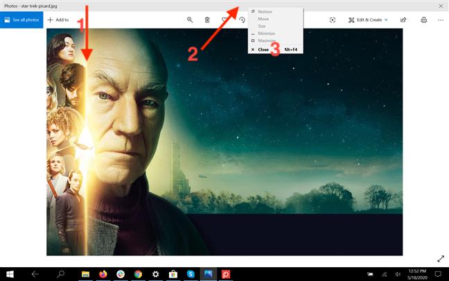在平板电脑模式下从标题栏关闭应用程序
