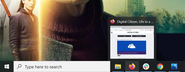 将鼠标悬停在打开的应用程序的图标上可以查看其窗口的预览