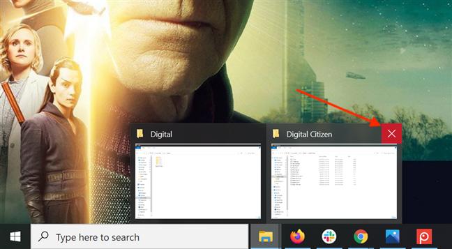 从任务栏预览的X按钮关闭应用程序窗口