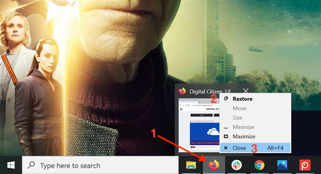 将鼠标悬停在打开的应用程序上,右键单击预览,然后按关闭
